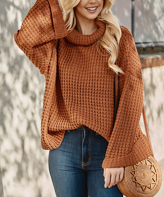Southern Wishlist Women's Pullover Sweaters Rust - Rust Knit Cowl Neck Sweater