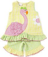 Bonnie Jean Bonnie Baby Baby Girls Newborn-24 Months Seersucker Checked Flamingo-Applique Top & Capri Pant Set
