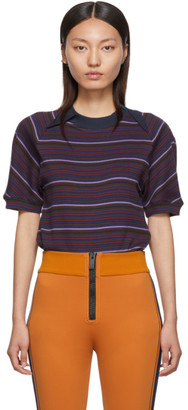 Y/Project Navy and Purple Striped Double Collar T-Shirt