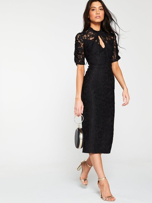 Very Ruched Lace Pencil Dress - Black