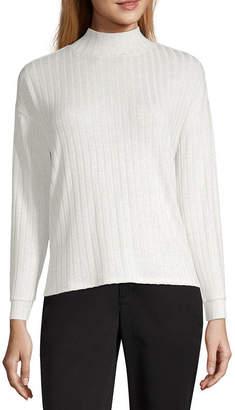 Worthington-Womens Mock Neck Long Sleeve T-Shirt