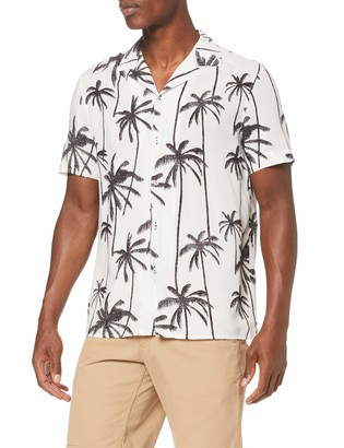 Burton Menswear London Men's Short Sleeve Palm Print Shirt Casual