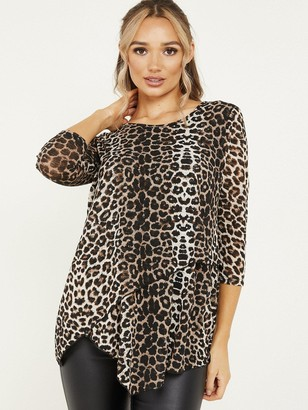 Quiz Brown Light Knit Leopard Round Neck Asymmetric Hem 3/4 Sleeve Top
