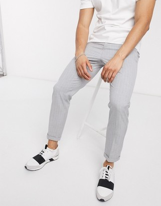 Lockstock cropped trousers with pinstripe in grey