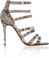 Christian Louboutin Mariniere 100 glossed-python sandals