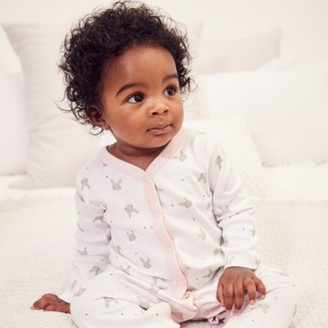 The White Company Bunny Face-Print Sleepsuit, White, 12-18mths