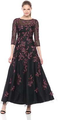 Aidan Mattox Aidan Women's Long Sleeve Embroidered Gown with Beading