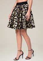 Bebe Gold Leopard Jacquard Skirt