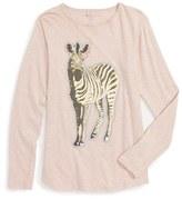 Stella McCartney Girl's 'Barley - Zebra' Long Sleeve Graphic T-Shirt