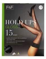 F&F 2 Pack of Gloss 15 Denier Hold-Ups with Lycra, Women's