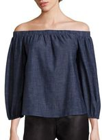 Alice + Olivia Jalen Chambray Off-The-Shoulder Top