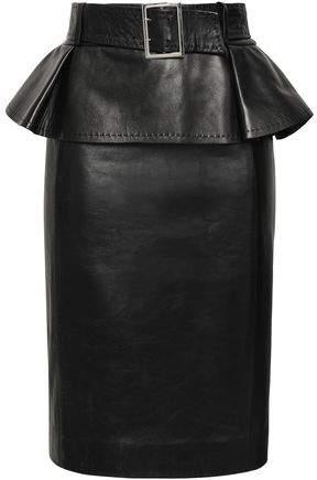 Thierry Mugler Belted Leather Peplum Pencil Skirt