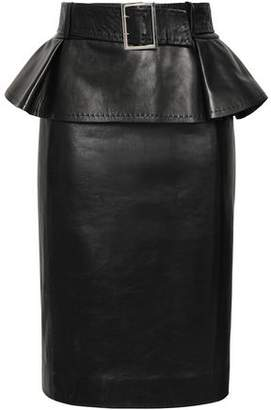 Thierry Mugler Belted Leather Peplum Pencil Skirt