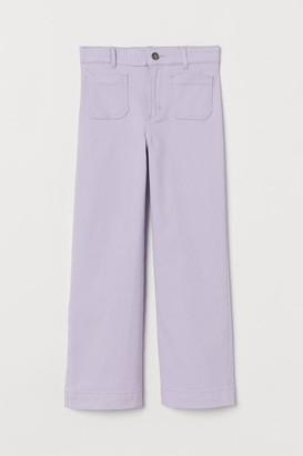 H&M Ankle-length Twill Pants - Purple