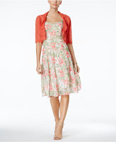 Connected Floral-Print A-Line Dress and Shrug