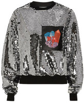 Carven Printed Faux Leather-Paneled Sequined Jersey Sweatshirt