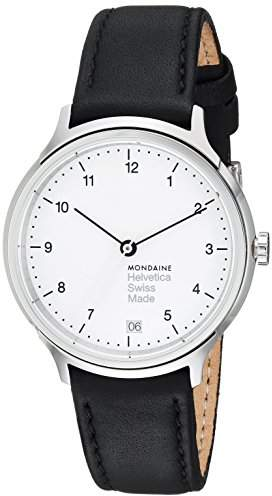 Mondaine Women's Quartz Watch with White Dial Analogue Display and Black Leather Strap MH1.R1210.LB