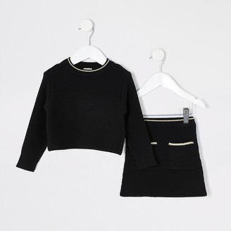 River Island Mini girls Black knitted skirt outfit