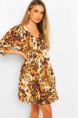 boohoo Animal Print Horn Button Through Smock Dress