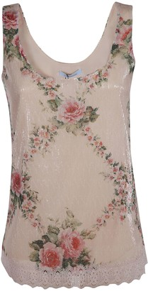 Blumarine Floral Print Sleeveless Top