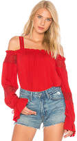 Band of Gypsies Long Sleeved Cold Shoulder Top in Red. - size L (also in M,S,XS)