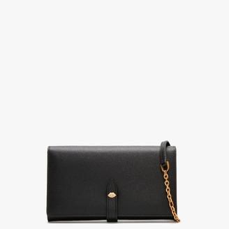 Lulu Guinness Lip Pin Juniper Black Leather Wallet Cross-Body