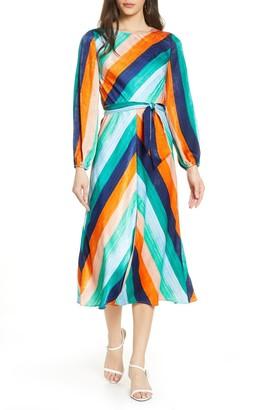 Ali & Jay Sunset Skies Long Sleeve Stripe Satin Midi Dress