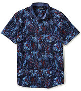 Vince Camuto Slim-Fit Floral-Print Short-Sleeve Woven Shirt