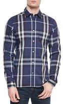 Burberry Long-Sleeve Woven Check Shirt, Navy