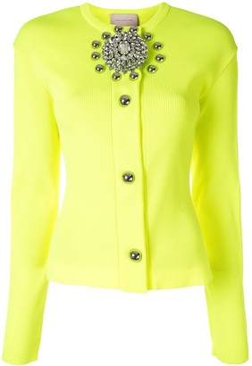 Christopher Kane Crystal Brooch Ribbed Cardigan