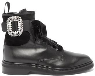 Roger Vivier Rangers Crystal-embellished Leather Ankle Boots - Black