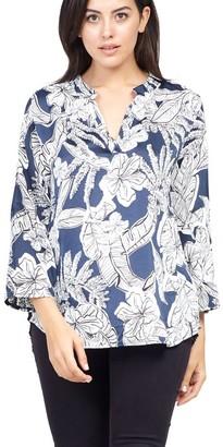 M&Co Izabel Curve tropical print blouse