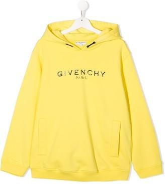Givenchy Kids TEEN logo print cotton hoodie