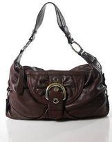 B. Makowsky Red Silver Gold Tone Buckle Accent Zipper Closure Shoulder Handbag