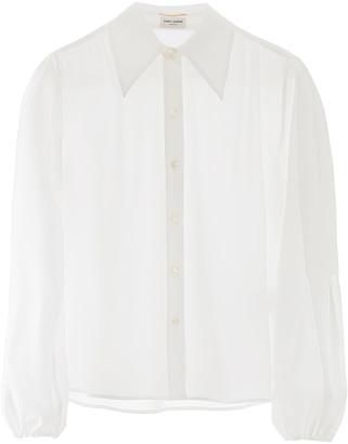 Saint Laurent SHIRT WITH BALLOON SLEEVES 38 White Silk