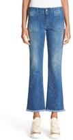 Stella McCartney 'Skinny Kick - Fringed Stars' Crop Flare Jeans (Deep Blue)