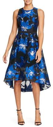 Halston Floral Fil Coupe Fit & Flare Dress