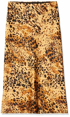 Simply Be Women's Ladies Leopard Print Satin Column Midi Skirt