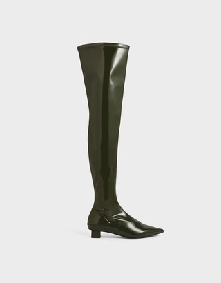 Charles & Keith Thigh High Patent Boots