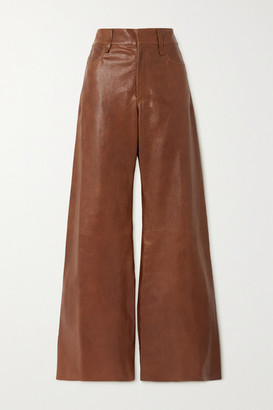 Chloé Leather Flared Pants - Brown