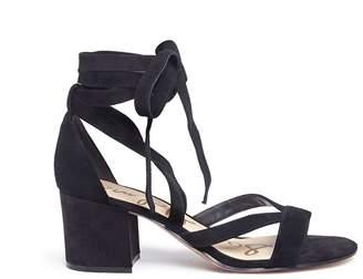 'Sheri' ankle tie block heel suede sandals