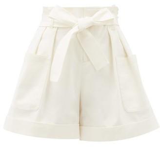 RED Valentino Belted Paperbag-waist Cotton-blend Shorts - Womens - Cream