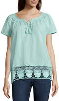 ST. JOHN'S BAY St. John's Bay Lace Border Blouse