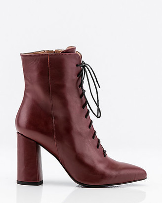 Le Château Italian-Made Leather Lace-Up Ankle Boots