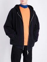 Unravel Bone-embroidered cotton-jersey hoody