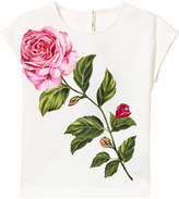 Dolce & Gabbana White Rose Embroidered Tee