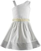 Miss Blumarine Pinstripe Dress with Floral Waist