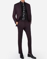 Express Slim Deep Merlot Wool-Blend Stretch Oxford Suit Pant