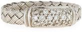 Roberto Coin Woven Silk 18k Diamond Rectangle Ring, Size 6.5