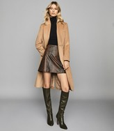 Reiss Bethann - Snake Printed Leather Mini Skirt in Brown